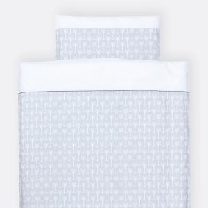 KraftKids Bettwäscheset weiße Pfeile auf Grau 140 x 200 cm, Kissen 80 x 80 cm