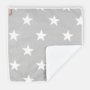 KraftKids Wickelunterlage große weiße Sterne auf Grau wasserundurchlässig