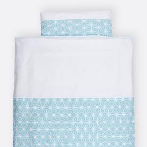 KraftKids Bettwäscheset weiße Diamante auf Pastel Blau 100 x 135 cm, Kissen 40 x 60 cm