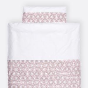 KraftKids Bettwäscheset weiße Diamante auf Cameo Rosa 100 x 135 cm, Kissen 40 x 60 cm