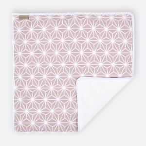 KraftKids Wickelunterlage weiße Diamante auf Cameo Rosa wasserundurchlässig