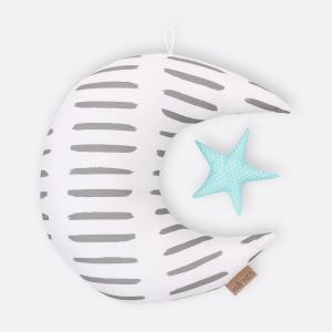 KraftKids Dekoration Mond und Stern graue Striche auf Wei?