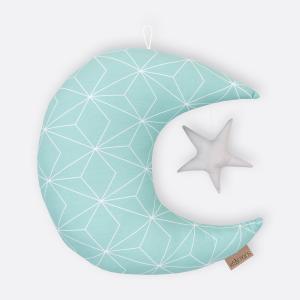 KraftKids Dekoration Mond und Stern weiße dünne Diamante auf Mint