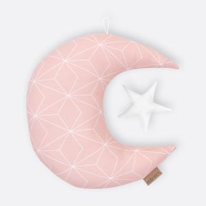 KraftKids Dekoration Mond und Stern weiße dünne Diamante auf Altrosa
