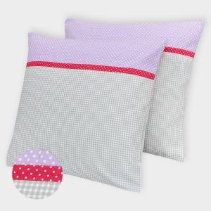 KraftKids Kissenbezug weiße Punkte auf Lila und Karo grau