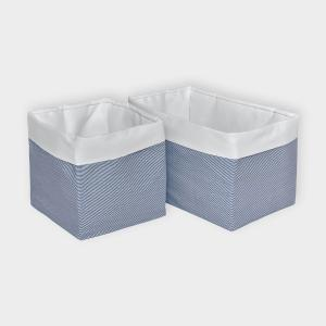 KraftKids Körbchen Uniweiss und dünne Streifen dunkelblau 20 x 20 x 20 cm