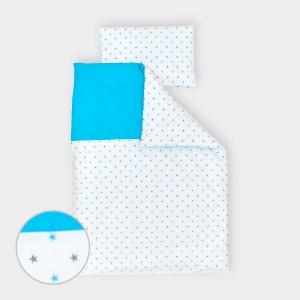 miniFifia Bettwäscheset Unitürkis und kleine graue Sterne auf Weiss 100 x 135 cm, Kissen 40 x 60 cm