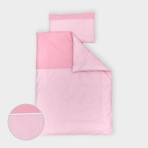 miniFifia Bettwäscheset Unirosa und Streifen rosa 100 x 135 cm, Kissen 40 x 60 cm