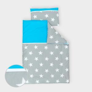 miniFifia Bettwäscheset große weiße Sterne auf Grau und Unitürkis 100 x 135 cm, Kissen 40 x 60 cm