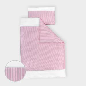 miniFifia Bettwäscheset Uniweiss und Streifen rosa 100 x 135 cm, Kissen 40 x 60 cm