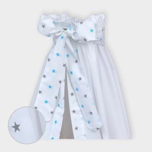 miniFifia Betthimmel kleine graue Sterne auf Weiss