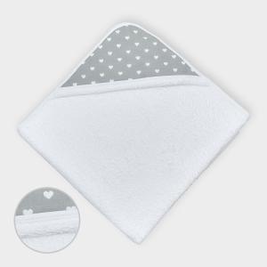 miniFifia Kapuzenhandtuch weiße Herzen auf Grau