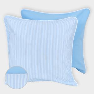 miniFifia Kissenbezug Unihellblau und Streifen hellblau dünn