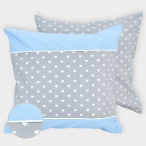 miniFifia Kissenbezug weiße Herzen auf Grau und Unihellblau