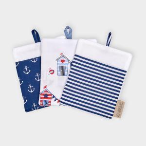 KraftKids Waschlappen weiße Anker auf Dunkelblau und Strandhäuschen und Streifen dunkelblau 3er Set Anker