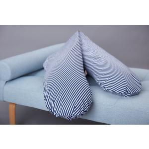 KraftKids qualitäts Stillkissen Streifen dunkelblau mit Micro-EPS-Perlen mit TOXPROOF-ZERTIFIKAT des TÜV-Rheinland