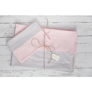 KraftKids Bettwäscheset kleine Blätter rosa auf Weiß 100 x 135 cm, Kissen 40 x 60 cm