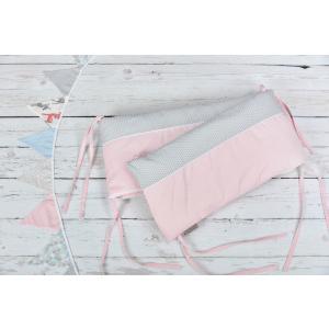 KraftKids Nestchen kleine Blätter rosa auf Weiß Nestchenlänge 60-60-60 cm für Bettgröße 120 x 60 cm