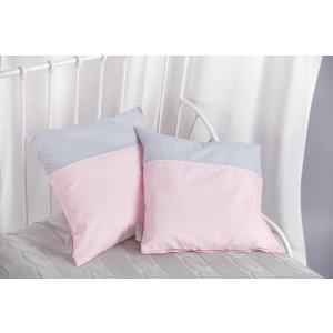 KraftKids Kissenbezug kleine Blätter rosa auf Weiß