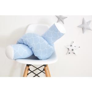 KraftKids Bettrolle weiße Halbkreise auf Pastelblau Rollenlänge 140 cm