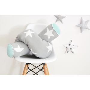 KraftKids Bettrolle große weiße Sterne auf Grau und weiße Punkte auf Mint Rollenlänge 140 cm