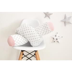 KraftKids Bettrolle graue Punkte auf Weiss und Streifen rosa Rollenlänge 140 cm