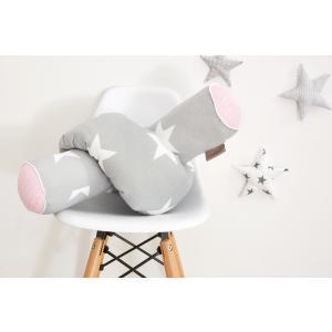 KraftKids Bettrolle große weiße Sterne auf Grau und weiße Punkte auf Rosa Rollenlänge 140 cm