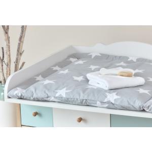 KraftKids Wickelauflage große weiße Sterne auf Grau breit 60 x tief 70 cm passend für Waschmaschinen-Aufsatz von KraftKids