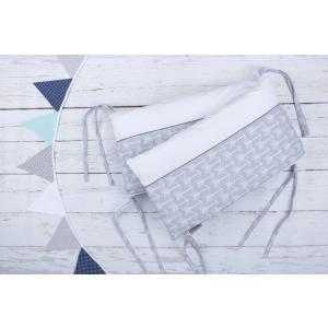 KraftKids Nestchen weiße Pfeile auf Grau und Uniweiss Nestchenlänge 60-60-60 cm für Bettgröße 120 x 60 cm