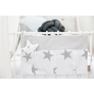 KraftKids Betttasche große graue Sterne auf Weiss und Unigrau