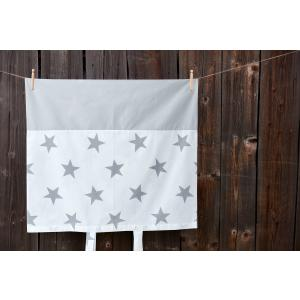 KraftKids Bezug für Wickeltischauflage große graue Sterne auf Weiss und Unigrau