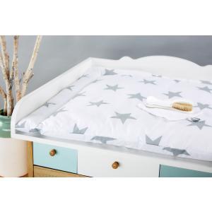 KraftKids Wickelauflage große graue Sterne auf Weiss breit 60 x tief 70 cm passend für z. B. Waschmaschine