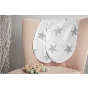 KraftKids Stillkissenbezug große graue Sterne auf Weiss