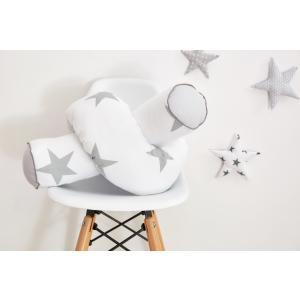 KraftKids Bettrolle große graue Sterne auf Weiss und Unigrau Rollenlänge 140 cm