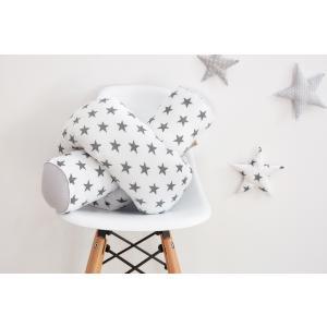 KraftKids Bettrolle Unigrau und kleine graue Sterne auf Weiss Rollenlänge 140 cm