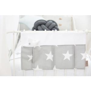KraftKids Betttasche große weiße Sterne auf Grau und Uniweiss