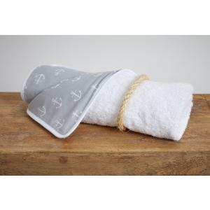 KraftKids Wickelunterlage weiße Anker auf Grau wasserundurchlässig