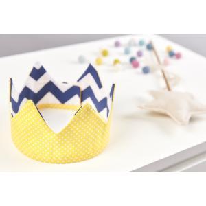 KraftKids Dekoration Stoffkrone weiße Punkte auf Gelb und Chevron dunkelblau