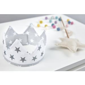 KraftKids Dekoration Stoffkrone kleine graue Sterne auf Weiss