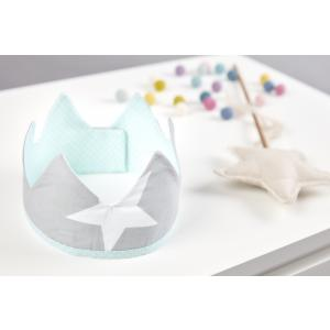 KraftKids Dekoration Stoffkrone große weiße Sterne auf Grau
