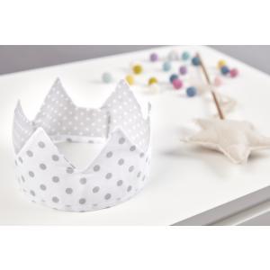 KraftKids Dekoration Stoffkrone graue Punkte auf Weiss