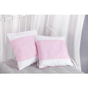 KraftKids Kissenbezug Uniweiss und weiße Punkte auf Rosa
