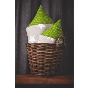 KraftKids Dekoration Stoffhäuschen große weiße Sterne auf Beige und weiße Punkte auf Grün Inhalt: ein kleines und großes Häuschen