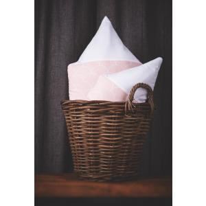 KraftKids Dekoration Stoffhäuschen Uniweiss und weiße Halbkreise auf Pastelrosa Inhalt: ein kleines und großes Häuschen