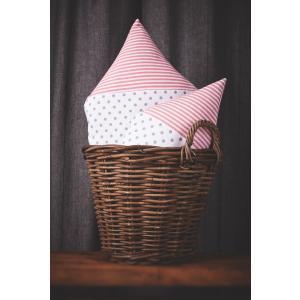 KraftKids Dekoration Stoffhäuschen graue Punkte auf Weiss und Streifen rosa Inhalt: ein kleines und großes Häuschen