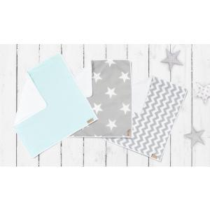 KraftKids Wickelunterlage große weiße Sterne auf Grau und weiße Punkte auf Mint und Chevron grau 3er-Set wasserundurchlässig