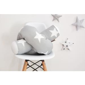 KraftKids Bettrolle große weiße Sterne auf Grau und Uniweiss Rollenlänge 200 cm