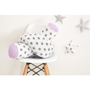 KraftKids Bettrolle kleine graue Sterne auf Weiss und weiße Punkte auf Lila Rollenlänge 200 cm