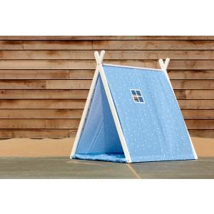KraftKids Spielzelt abgerundete Dreiecke weiß auf Blau