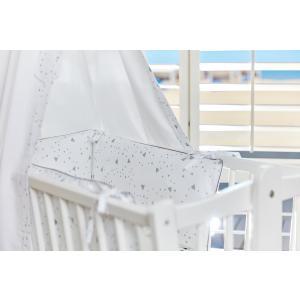 KraftKids Nestchen abgerundete Dreiecke grau Nestchenlänge 60-70-60 cm für Bettgröße 140 x 70 cm